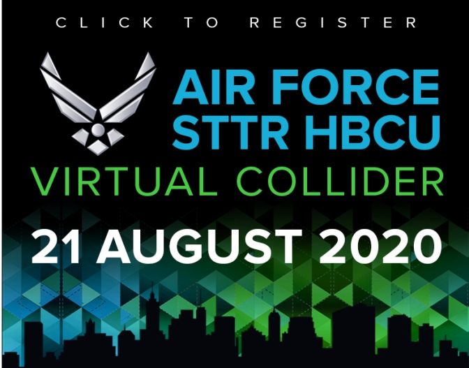 Select here to register for 2020's Air Force STTR HBCU Virtual Collider